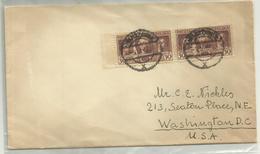 Lettre Pologne Pour Washington USA Paire Timbres Washington George 1932 - George Washington