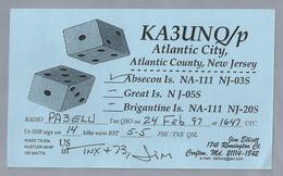 US.- QSL CARD. KA3UNQ/p. JIM ELLIOTT, CROFTON, MARY LAND, ATLANTIC CITY - COUNTY. NEW JERSEY. GREAT IS. NJ-05S.U.S.A.. - Radio-amateur