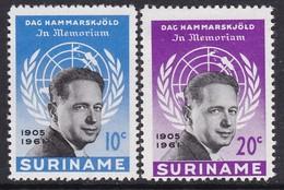 PAIRE NEUVE DU SURINAM - A LA MEMOIRE DE DAG HAMMARSKJÖLD N° Y&T 363/364 - Dag Hammarskjöld