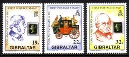 GIBRALTAR MI-NR. 598-600 ** 150 JAHRE BRIEFMARKE SIR ROWLAND HILL POSTKUTSCHE - Gibraltar