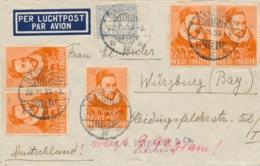 Nederlands Indië - 1933 - 5x 12,5 Cent Willem I Op LP-cover Van LB Bandoeng/2 Naar Würzburg / Deutschland - Nederlands-Indië