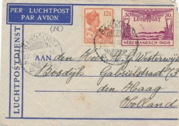 Nederlands Indië - 1932 - 12,5 Cent + 30 Cent Luchtpost Op LP-briefje Van LB Bandoeng/3 Naar Den Haag / Nederland - Niederländisch-Indien