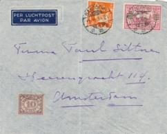 Nederlands Indië - 1934 - 12,5 Cent + 30 Cent Luchtpost Op LP-briefje Van LB Bandoeng/4 Naar Amsterdam / Nederland - Nederlands-Indië