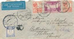Nederlands Indië - 1932 - 2x12,5 Cent + 30 Cent Luchtpost Op 15 Cent Taxed LP-briefje Van LB Bandoeng/5 Naar Rotterdam - Nederlands-Indië