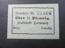 Notgeld Stadtkasse Tarnowitz Brier / Tobollik 2 Scheine / Geprägtes Wappen. 25 PF Und 50 PFLokalausgaben - [11] Local Banknote Issues