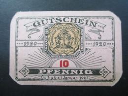 Notgeld Stadt Sparkasse Dannenberg Gutschein über 10 Pfennig 1920 Top Zustand! - [11] Local Banknote Issues