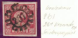 Bayern, Mi.-Nr.9bo, 3 1/2 SchnittlinienNr.-Stempel 261 Konach - Seidenpapier,pracht - Bayern (Baviera)