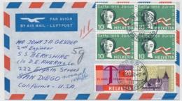 Portogerechte Mischfrankatur Auf Luftpostbrief Gelaufen - BERN - SAN DIEGO Californien - Cartas