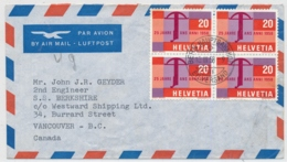 Portogerechte Mischfrankatur Auf Luftpostbrief Gelaufen - BERN - VANCOUVER CANADA - Cartas