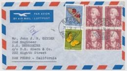 Portogerechte Mischfrankatur Auf Luftpostbrief Gelaufen - BERN - SAN PEDRO Californien - Lettres & Documents