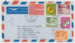 Portogerechte Mischfrankatur Auf Luftpostbrief Gelaufen - BERN - SAN PEDRO Californien - Cartas