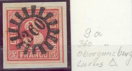 Bayern, Briefstück Mi.-Nr.9ao, 360 Obergünzburg, Luxus !! - Bayern (Baviera)