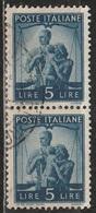 1945 Serie Democratica 5 Lire - In Coppia Usati - 6. 1946-.. Republic