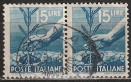 1945 Serie Democratica 15 Lire - In Coppia Usati - 6. 1946-.. Repubblica
