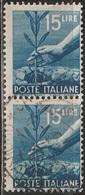 1945 Serie Democratica 15 Lire - In Coppia Usati - 6. 1946-.. Republic