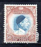 APR2329 - LIBIA LYBIA 1952 ,  50 Mills Usato  (2380A) Re Idris El Senoussi - Libia