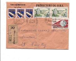 AFFRANCHISSEMENT COMPOSE SUR LETTRE RECOMMANDEE DE LONS LE SAUNIER JURA 1967 - Marcophilie (Lettres)