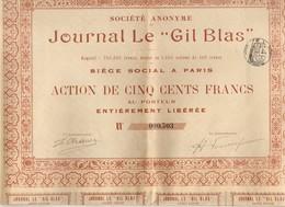 JOURNAL LE GIL BLAS ACTION DE CINQ CENT FRANCS 500 Frs Au PORTEUR - PRESSE - COMPLET ENTIER - VOIR TOUS LES SCANS - Shareholdings