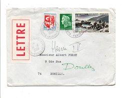 AFFRANCHISSEMENT COMPOSE SUR LETTRE DE BUREAUX TEMPORAIRES DE PARIS 1969 - Marcophilie (Lettres)