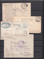 Lot De  4  Enveloppes   Et Cartes  Avec  Cachet Militaire - WW I