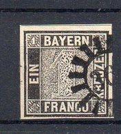 BAVIÈRE : N° 1 A . AUTHENTIQUE . MAIS OBLITÉRATION DOUTEUSE . 1849 .    ( CATALOGUE YVERT ) . - Bavaria