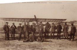 """80 LE CROTOY """" Photo Glacée D' Une CPA """" Ecole D'aviation Des Frères CAUDRON .  Un Groupe D' Aviateurs . - Aviation"""