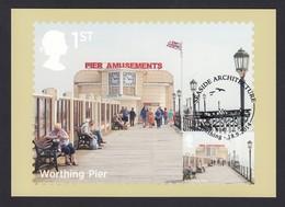 Used 2014 Great Britain GB PHQ Maximum Maxi Postcard Seaside Architecture Worthing Pier FDI - Maximum Cards