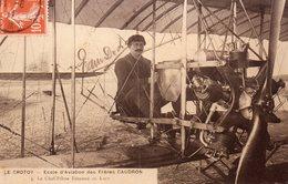 """80 LE CROTOY """" Photo Glacée D' Une CPA """" Ecole D'aviation Des Frères CAUDRON Le Chef-pilote Edmond De LAET . - Aviation"""