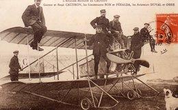 """80 LE CROTOY """" Photo Glacée D' Une CPA """" Gaston   René CAUDRON,les Lieutenants BON Et PERALDA, Les Aviateurs DUVALet O . - Aviation"""
