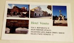 Ancienne Carte De Visite De L'hôtel Veneto, Firenze, Italie / Old Business Card Of The Veneto Hotel, Firenze, Italy - Tarjetas De Visita