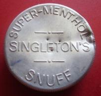 BIRMINGHAM SINGLETON'S ANCIENNE BOITE En ALUMI DISTRIBUTEUR DE SUPER MENTHOL SNUFF ENGLAND Bistrot  Alimentation VINTAGE - Scatole