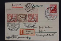 Deutsche Reich Einschreiben Postkarte ERFURT Sonderstempel Kreistag 1936 Zusammendrucke W110 - Allemagne