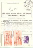 Ordre De Réexpédition Temporaire Affranchissement Base Poste Aérienne Oblitéré Linéaire BRIGNAIS 69-027 - Marcophilie (Lettres)