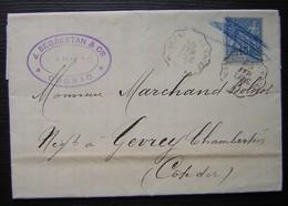 Cognac 1888 J. Segrestan, Timbre Barré Au Crayon Bleu + Convoyeur La Rochelle à Angoulême, Pour Gevrey Chambertin - Spoorwegpost