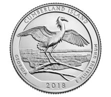 USA. Coin. 25 Cents. Quarter 44th Park. 2018. UNC. Cumberland Island. Bird. D - Federal Issues