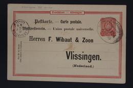 Deutsche Reich POSTKARTE 10 PFENNIGE MIT BAHNPOST STEMPEL -> WIBAUT & ZOON VLISSINGEN  1889 PRIVAT GANZSACHE - Deutschland