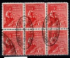 Uruguay - Timbres De 1910 Yvert 194 Bloc De 6 Utilisé Comme Fiscaux - Uruguay