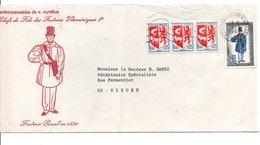 AFFRANCHISSEMENT COMPOSE SUR LETTRE DE CLERMONT FERRAND 1969 - Marcophilie (Lettres)