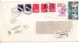 AFFRANCHISSEMENT COMPOSE SUR LETTRE RECOMMANDEE DE AUXERRE YONNE 1975 - Marcophilie (Lettres)