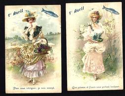 CPA Série De 2 Cartes Art Nouveau Non Circulé Poisson D'avril - Women