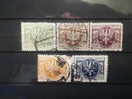 FRANCOBOLLI STAMPS POLONIA POLAND 1923 USED SERIE COMPLETAACQUILA SU SCUDO BAROCCO POLSKA - 1919-1939 Repubblica
