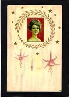 CPA Art Nouveau Femme Girl Woman Circulé Gaufré Embossed - Women