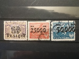 FRANCOBOLLI STAMPS POLONIA POLAND 1923 USED SERIE INFLATION INFLAZIONE OVERPRINTS SOVRASTAMPATI POLSKA - 1919-1939 Repubblica
