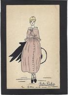CPA Dessin Original Fait Main Femme Girl Women écrite - Women