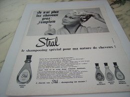ANCIENNE  PUBLICITE SHAMPOOING STRAL 1968 - Perfume & Beauty