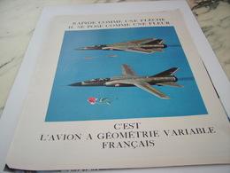 ANCIENNE PUBLICITE AVION  A GEOMETRIE VARIABLE 1968 - Advertisements