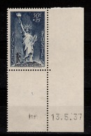 YV 352 N** Petit Coin Daté (charniere En Marge) Statue De La Liberte Cote 8+ Euros - Frankreich