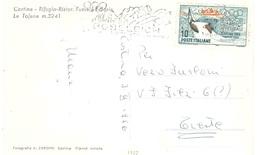 RIFUGIO RISTOR  CON £10 GIOCHI OLIMPICI CORTINA 1956 ANN. TARGHETTA BOBSLEIGH - Inverno1956: Cortina D'Ampezzo