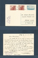 SYRIA. 1956 (10 April) Alep - Italy, Rome 10p Blue Stat Card + 2 Adtls. Very Scarce Card Usage. - Syrien