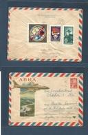 MONGOLIA. C. 1961. Ulan Bator - Czech Republic. Air Reverse Multifkd 6 Kop Russia Stationary Envelope + Adtl Mongolia St - Mongolei